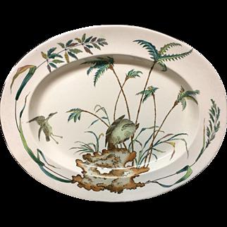 1878 ~ Large Exotic Polychrome Copeland Platter ~ PALMS EGRET HAWK 1878