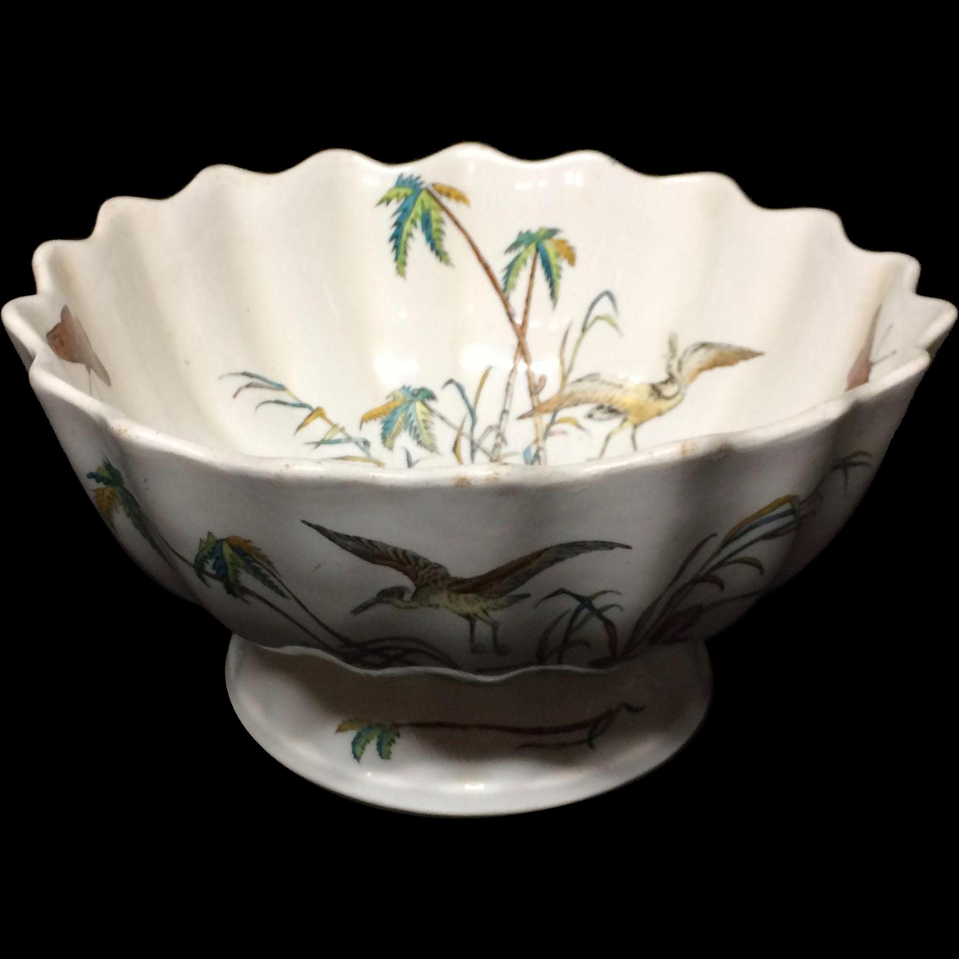 Early Copeland Polychrome Centerpiece Bowl ~ PALMS EGRET 1878