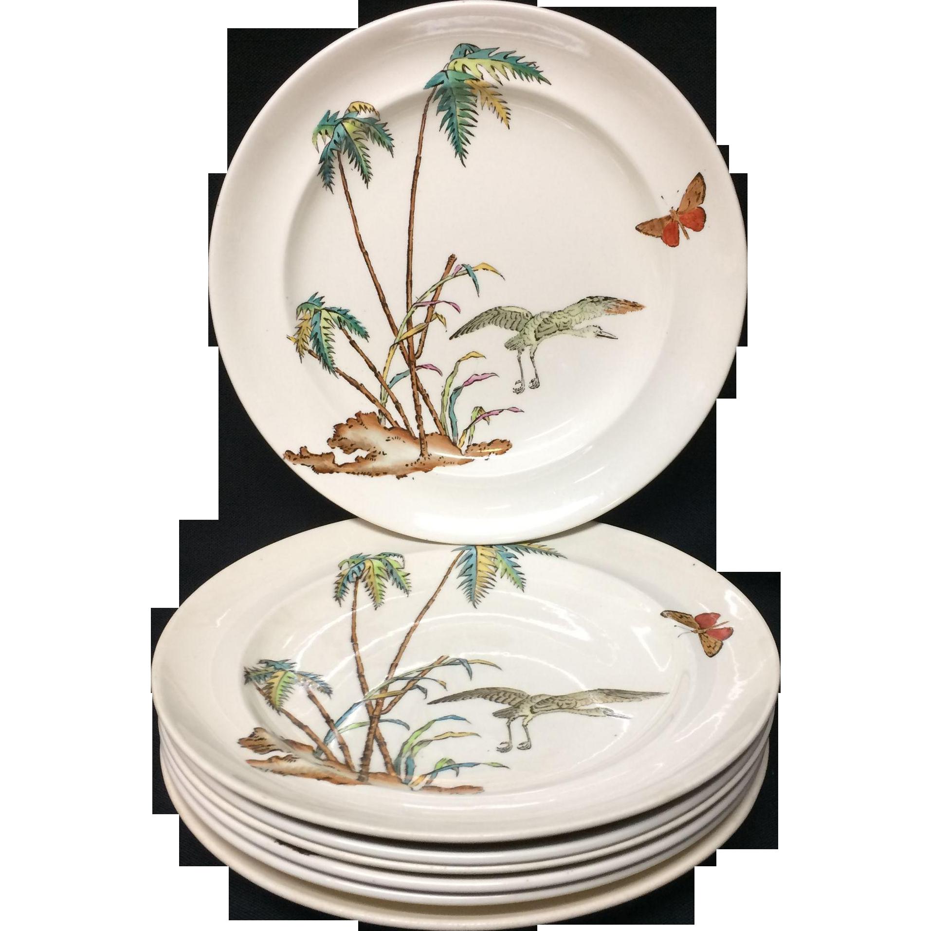 Early Copeland Exotic Polychrome 7 Plates ~ PALMS EGRET 1878