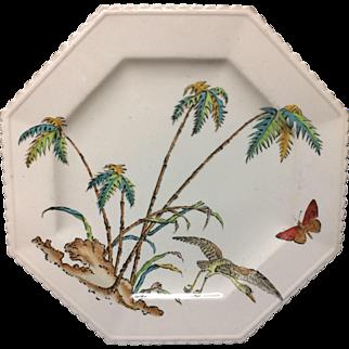 Early Copeland Exotic PolychromeFluted Plate ~ PALMS EGRET 1878