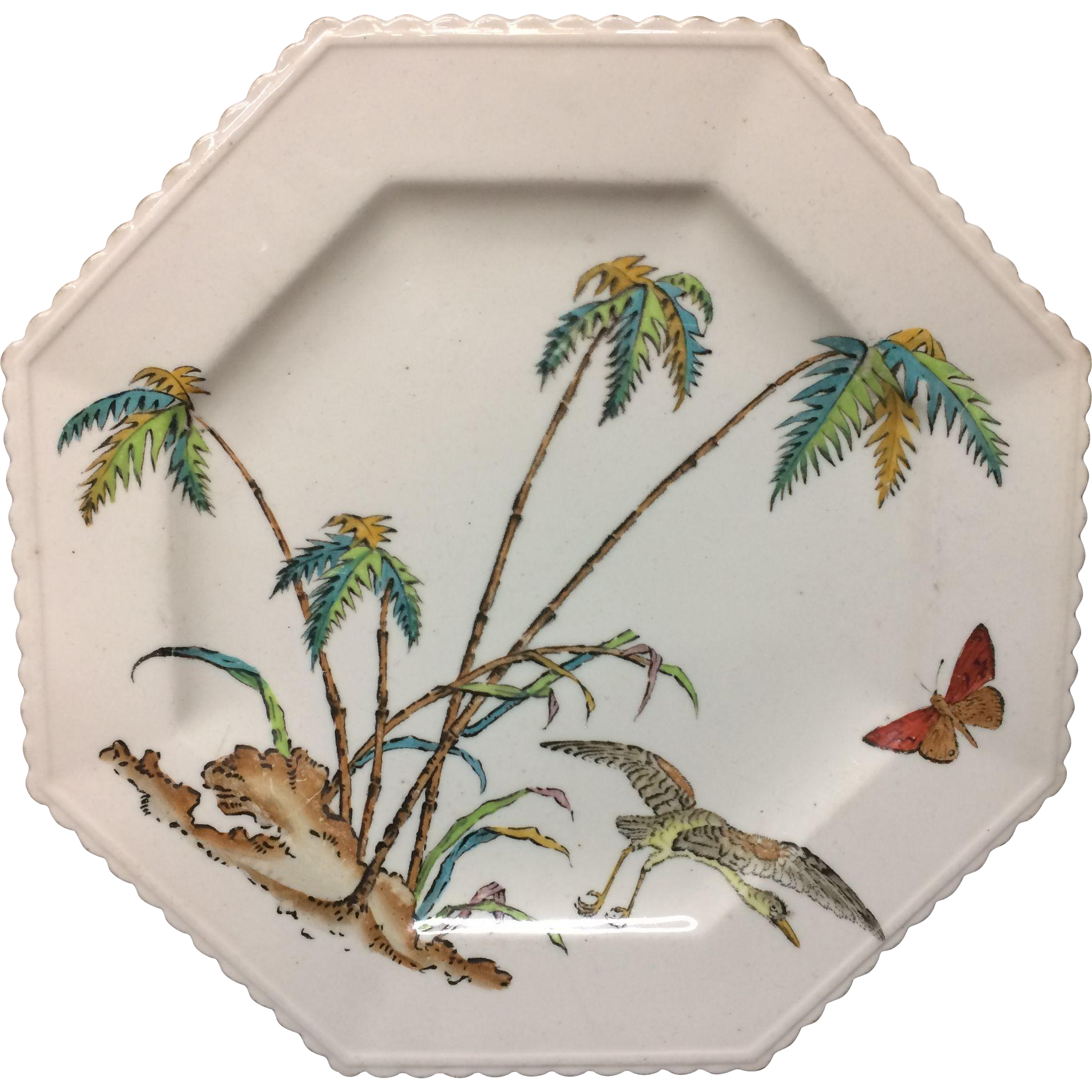 1878 ~ Copeland Exotic Hexagon Polychrome Plate ~ Palms Egret Butterfly 1878
