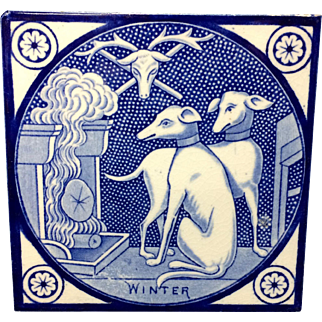Antique Transfer Printed T & R Boote Tile ~ WINTER 1872