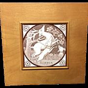 Framed Antique Transfer Printed T & R Boote Tile ~ SUMMER 1872