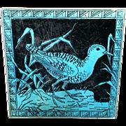 Minton Black Transferware Tile Victorian ~ SNIPE 1885