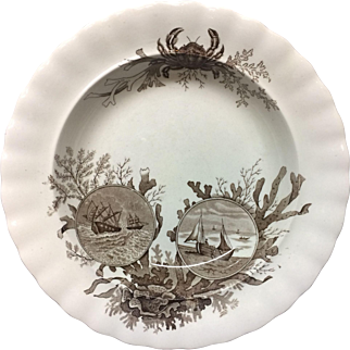 Brown Transferware Seaweed Soup Plate ~ Crab OCEANA 1891