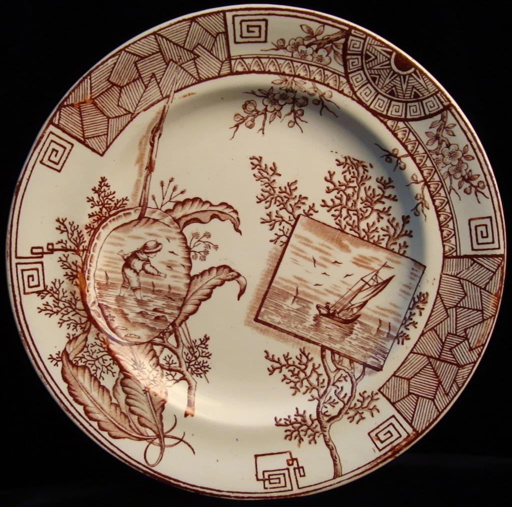 Aesthetic Brown Transferware Plate ~ Seaweed + Coral 1884