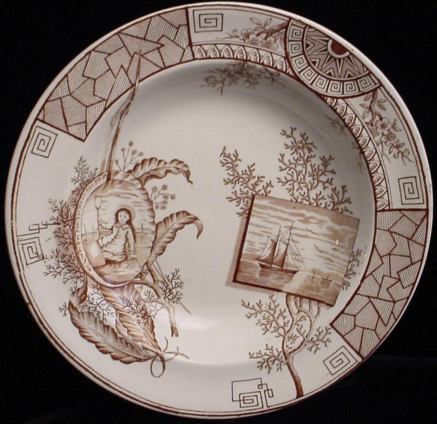 Aesthetic Brown Transferware Soup Plate ~ MERSEY 1884