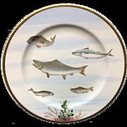 RARE Staffordshire Porcelain Edward Kennard Fish Plate ~ 1878