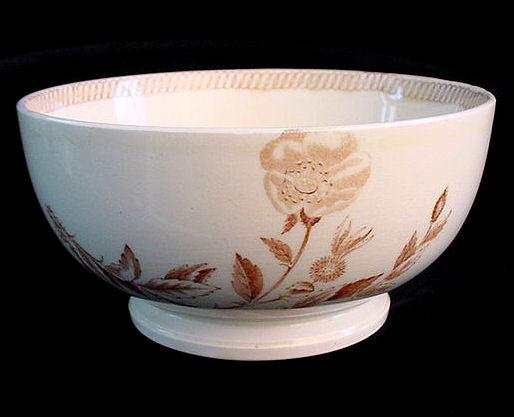 Wedgwood BOTANICAL Creamware Transferware Waste Bowl 1878