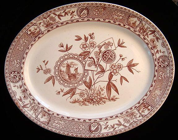 Japanesque Brown Transfer Aesthetic Movement Platter 1885