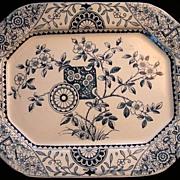 Marine Blue Aesthetic Transferware Platter ~ Gordon 1875