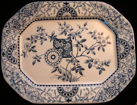 Marine Blue Aesthetic Transferware Platter ~ Gordon 1875