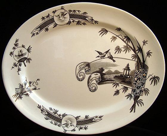 Orientalia Aesthetic Black Transfer Platter ~ NANKIN 1881