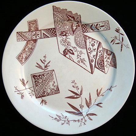 Aesthetic Brown Plate  ~ Japanesque Ribbons 1885