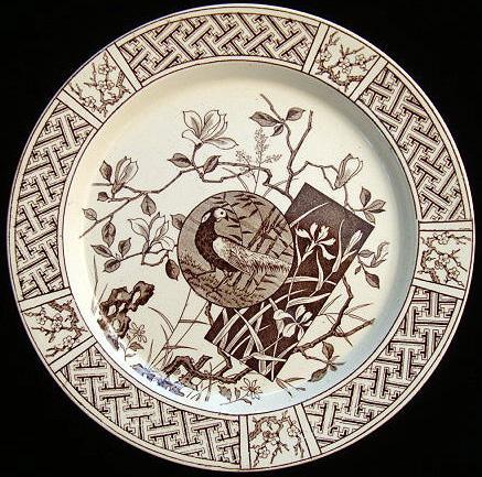Aesthetic Brown Plate ~ PHEASANT 1880