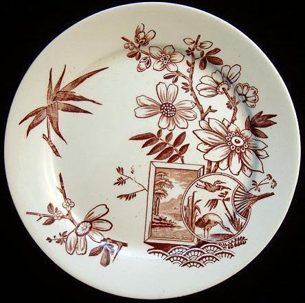 Aesthetic Transferware Plate ~ FAN HERONS 1888