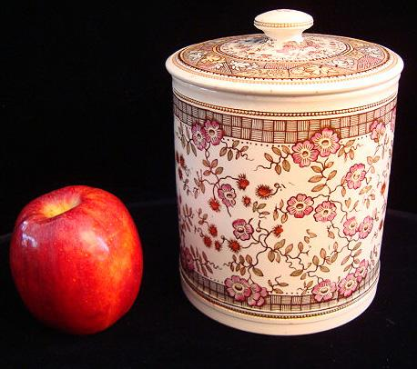 Polychrome Brown Transferware Biscuit Jar ~ 1875