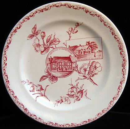 Victorian Red Shakespeare + Ann Hathaway Plate 1880