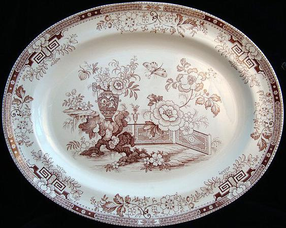 "Aesthetic Movement 18"" Transfer Platter ~ Detroit 1880"