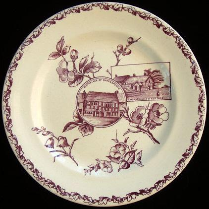Antique Purple Shakespeare + Ann Hathaway Plate 1880