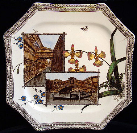Aesthetic Brown Transferware Plate ~ VENICE 1884