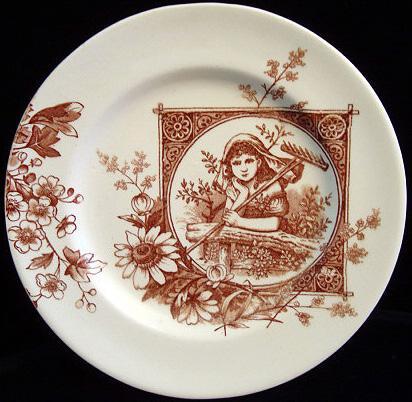 Brown Aesthetic Plate ~ Garden Dreams 1885