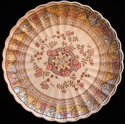 "Brown Aesthetic Transferware 12"" Round Serving Plate ~ PUZZLE 1885"