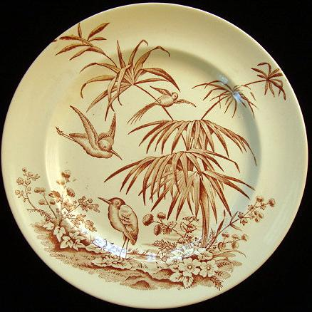 Exotic Birds Aesthetic Transferware Plate 1875