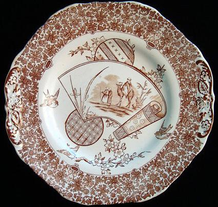 Antique Brown Cake Plate ~ CAIRO 1883