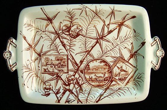 Aesthetic Transferware Serving Platter ~ Deer CHATSWORTH 1883