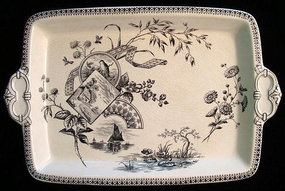 Superb Transferware Platter ~ WATERLILIES TENNYSON 1884