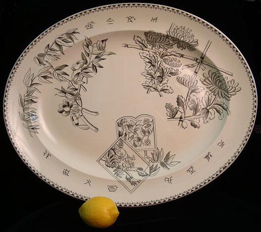 Japanesque Aesthetic Green Platter ~ Chrysanthemums 1883