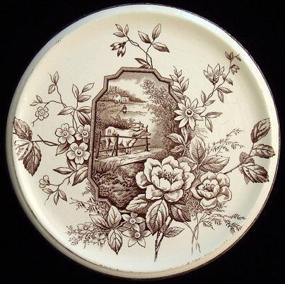 EXC 19th Century Brown Transferware Tea Stand 1886