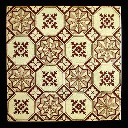 Brown Transferware Tile ~ TWILIGHT Zone 1885