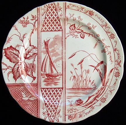 Red Aesthetic Transferware Plate ~ Sailboat 1885