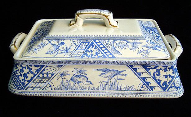 Large Aesthetic Transferware Tureen ~ CONGO 1883