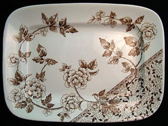 Brown Transferware Platter ~ Hydrangeas 1885