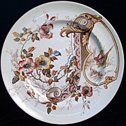 Aesthetic Brown Transferware Plate ~ PHEASANTS 1885