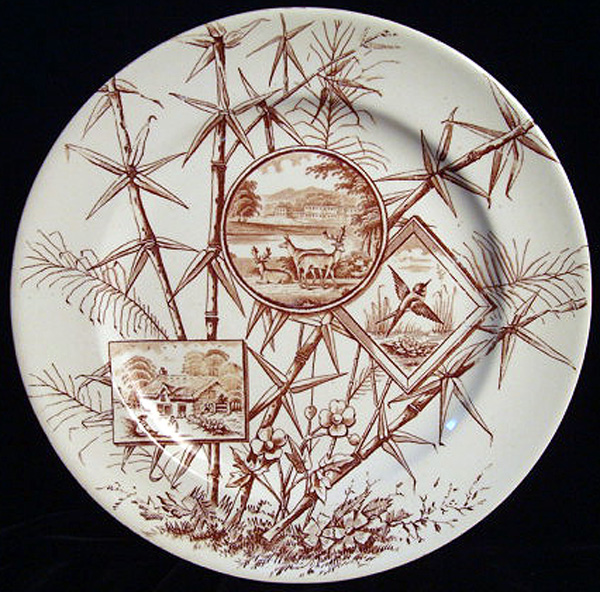 Aesthetic Brown Transferware Plate ~ Deer + Bird 1885