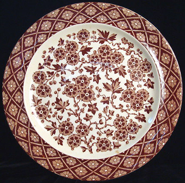 Super Brown Transferware Plate ~ Hawthorne Flowers 1884