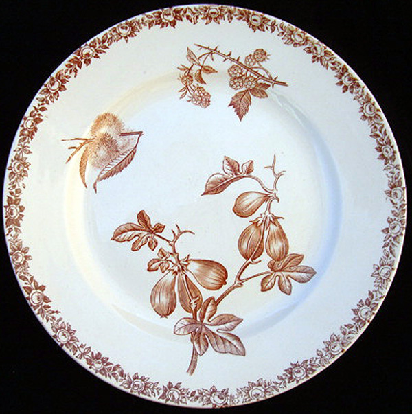 19th Century Plate ~ FIG & Gooseberries 1880