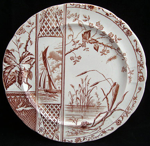Brown Aesthetic Transferware Plate ~ Sailboat 1885