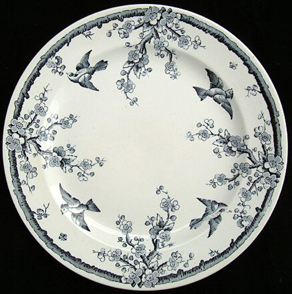 Victorian Aesthetic Movement Plate ~ BLUEBIRDS 1882