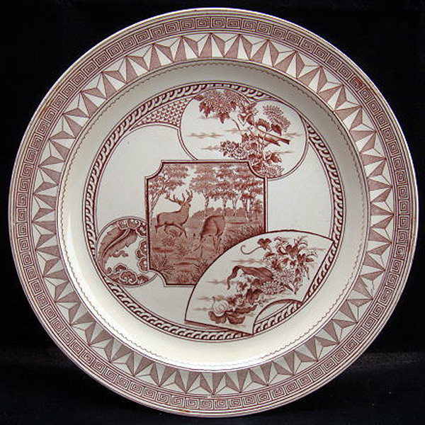 Victorian Brown Transfer Plate ~ DEER & BIRDS 1880