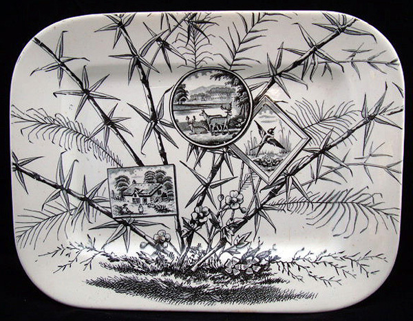 Aesthetic Black Transferware Platter ~ Deer + Birds 1883