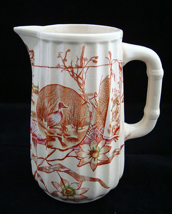 Hand Colored Brown Transferware Pitcher 1870