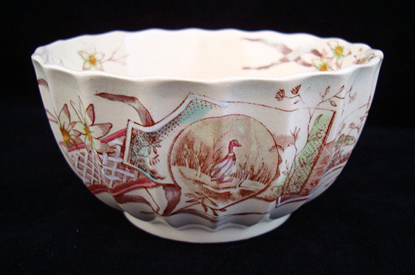 Hand Colored Brown Transferware Waste Bowl 1870