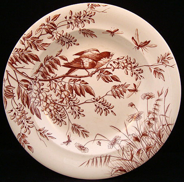 Aesthetic Transferware Charger ~ BULLFINCH on WISTERIA