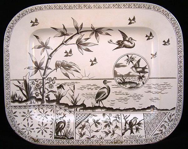 Aesthetic Green Transferware Platter ~ Tonquin 1883