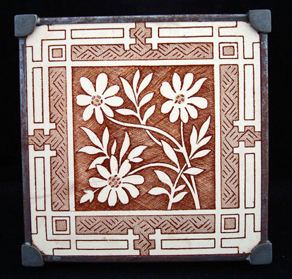 Aesthetic Era Transfer Tile Teapot Stand ~ 1885